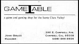 Game Table Business Card